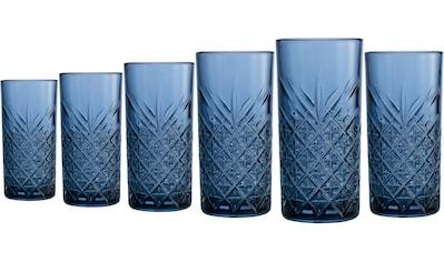 Home affaire Longdrinkglas »Dorum«, (Set, 6 tlg.), durchgefärbtes Glas mit dekorativer... kaufen