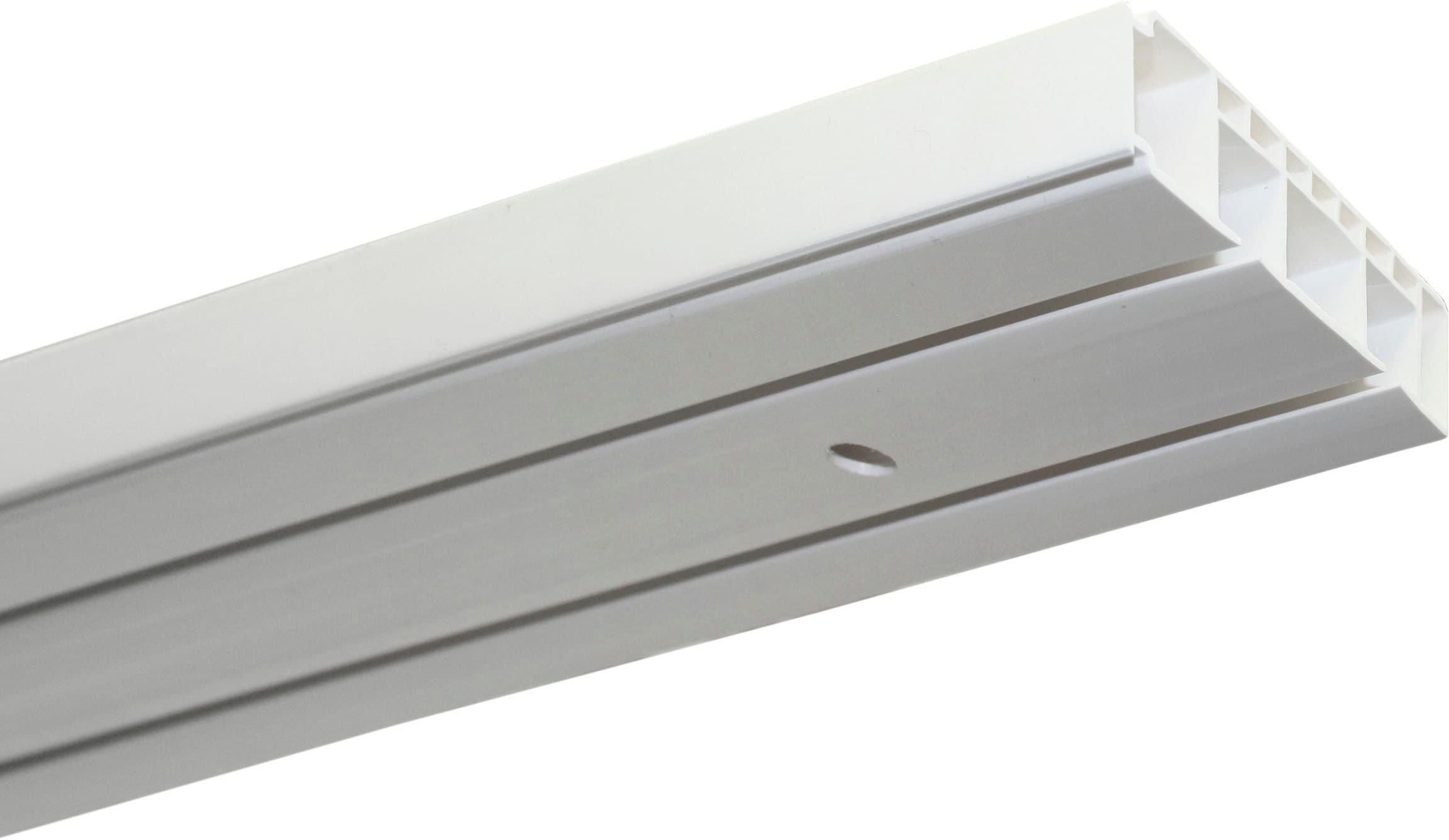 GARDINIA Gardinenschiene Vorhangschienen Set GK2, 2 läufig-läufig, Fixmaß weiß Gardinenschienen Gardinen Vorhänge