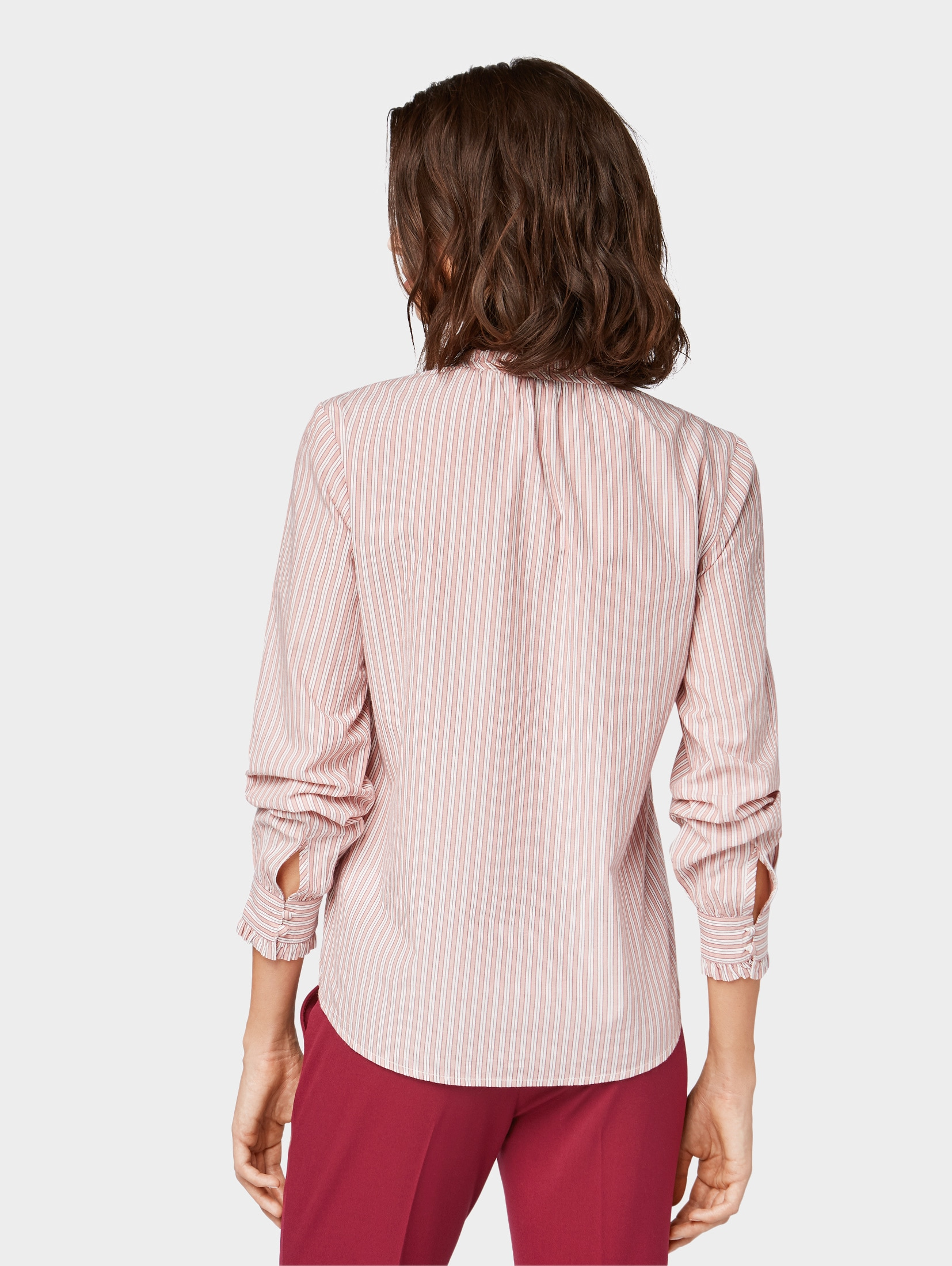 TOM TAILOR Shirtbluse Gestreifte Bluse mit Rüschen-Details