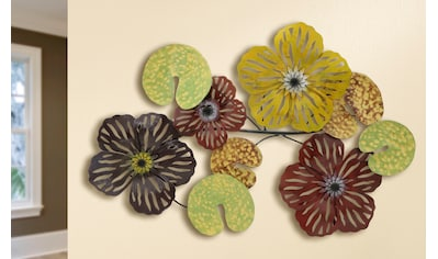 GILDE Wanddekoobjekt »Wandrelief Seerosen Combi«, Wanddeko, aus Metall, Wohnzimmer kaufen