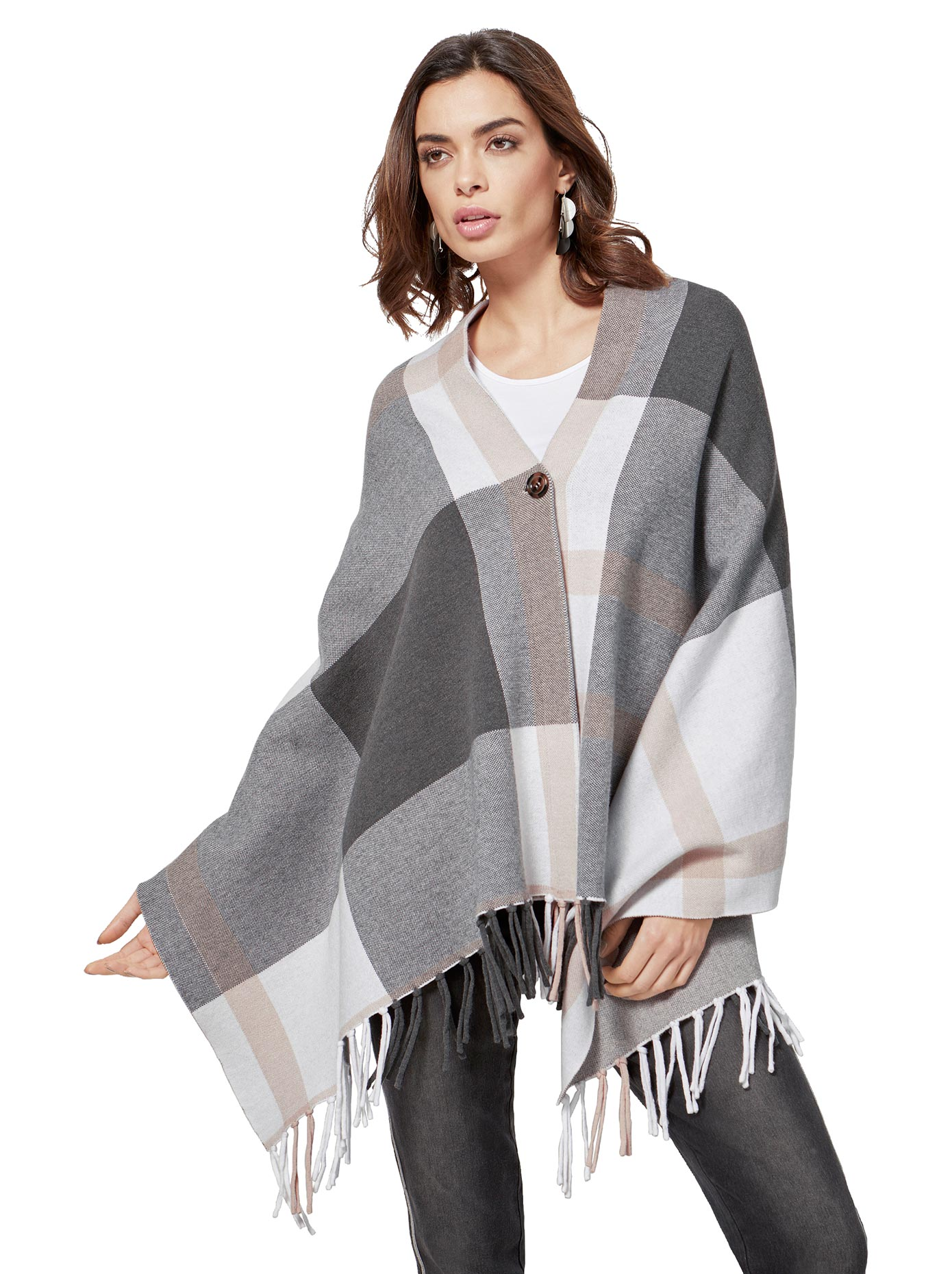 création L Poncho mit Karomusterung | Bekleidung > Pullover > Ponchos & Capes | Creation L