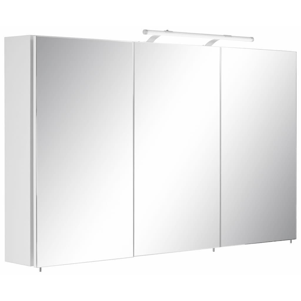 Schildmeyer Spiegelschrank »Dorina«, Breite 120 cm, 3-türig, LED-Beleuchtung, Schalter-/Steckdosenbox, Glaseinlegeböden, Made in Germany