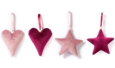 CHRISTMAS GOODS by Inge Dekohänger »Tender Rose«, Stern und Herz, Höhe ca. 12 cm kaufen