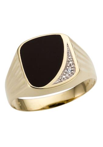 Firetti Siegelring »Markant, teilw. rhodiniert, Glanz, massiv«, mit Onyx und Brillant kaufen
