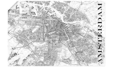 Artland Wandbild »Amsterdam Karte Straßen Karte«, Niederlande, (1 St.), in vielen Größen & Produktarten - Alubild / Outdoorbild für den Außenbereich, Leinwandbild, Poster, Wandaufkleber / Wandtattoo auch für Badezimmer geeignet kaufen