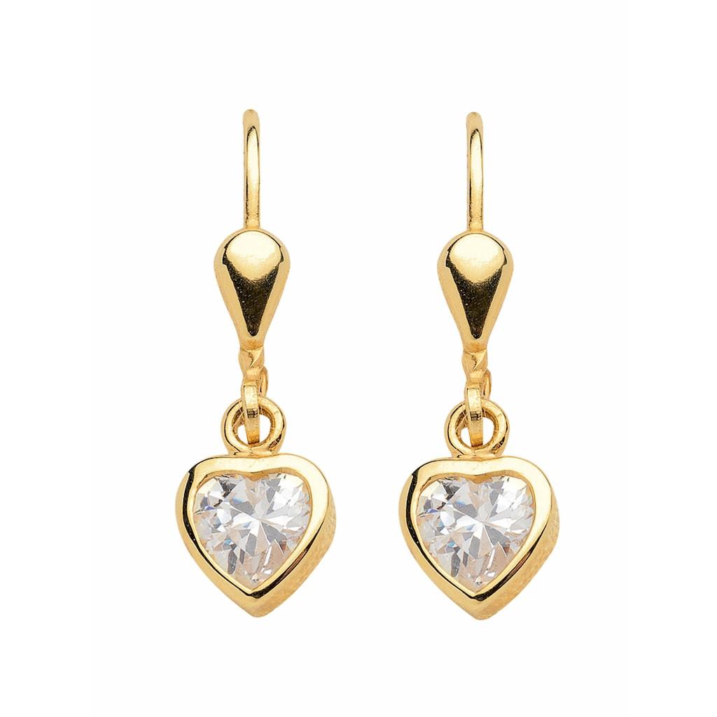 Adelia´s Paar Ohrhänger »333 Gold Ohrringe / Ohrhänger Herz mit Zirkonia«, Goldschmuck für Damen