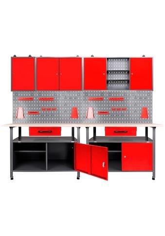 ONDIS24 Werkstatt-Set, 2x Werkbank, 2x Werkstattschrank, 2x Lochwand kaufen
