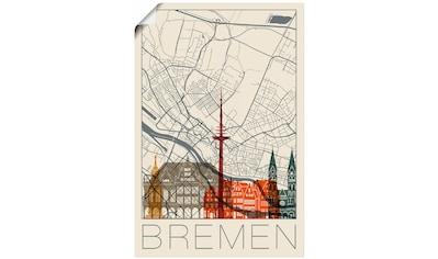 Artland Wandbild »Retro Karte Bremen« kaufen