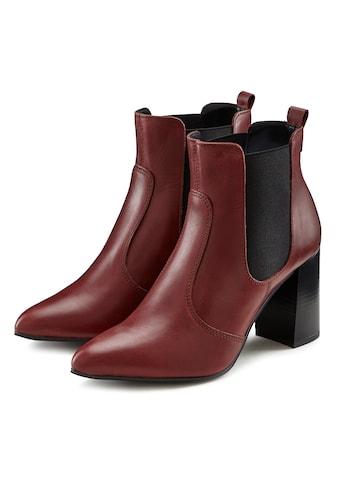 LASCANA Ankleboots, Stiefelette aus Leder mit modischem Blockabsatz und spitzer Form kaufen