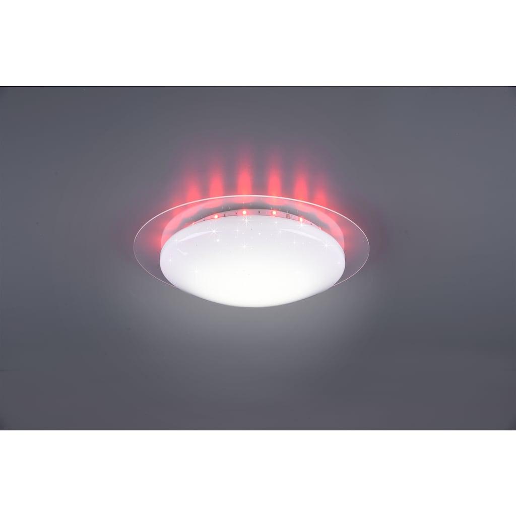 TRIO Leuchten LED Deckenleuchte »Joleen«, LED-Board, 1 St., Farbwechsler, Deckenlampe Ø 35 cm mit RGB Backlight, Hauptlicht mit Starlight-Effekt und Farbtemperaturstuerung von 2700 – 5500K, inkl. Fernbedienung & Dimmfunktion