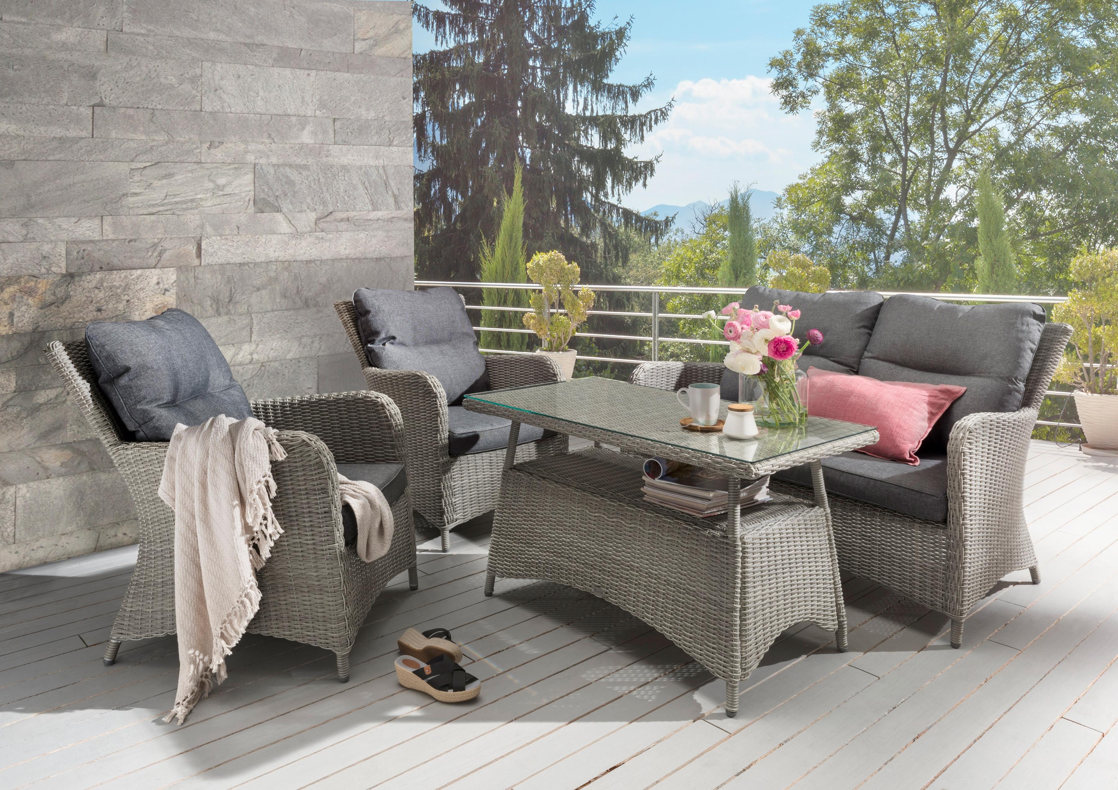 DESTINY Loungeset Paguera 4-tlg 2 Sessel Sitzbank Tisch 109x60 cm Alu/Polyrattan