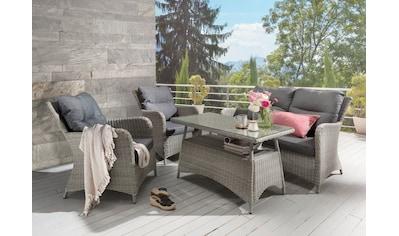 DESTINY Loungeset »Paguera«, 4 - tlg., 2 Sessel, Sitzbank, Tisch 109x60 cm, Alu/Polyrattan kaufen