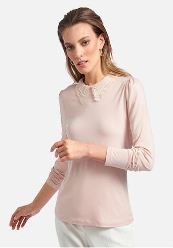 Uta Raasch Langarmshirt »Rundhals-Shirt«, mit Spitzen-Kragen kaufen