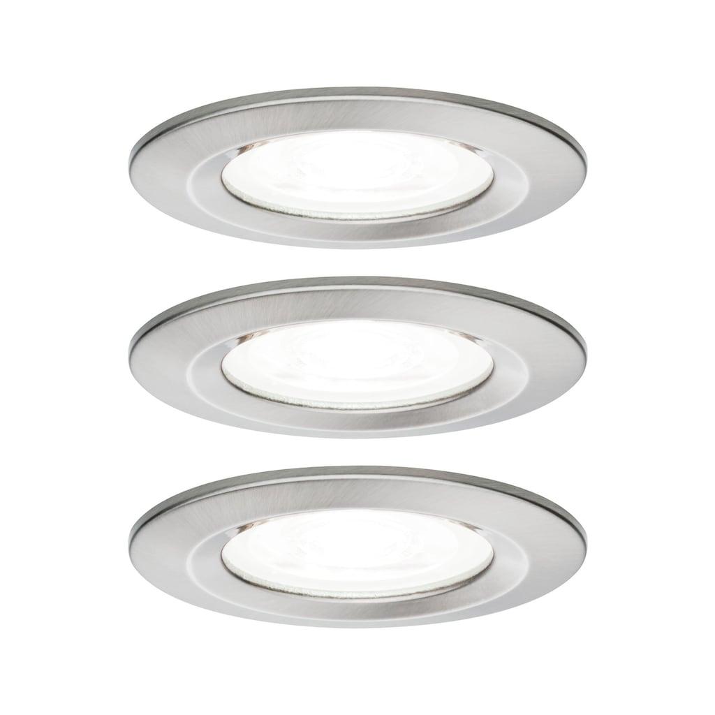 Paulmann LED Einbaustrahler »Nova rund 3x6,5W GU10 Eisen gebürstet 4000K starr 3-Stufen-dimmbar«, GU10
