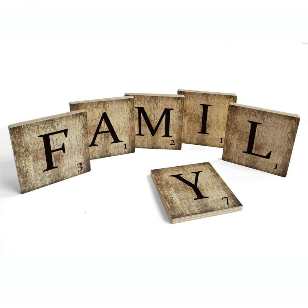 Wall-Art Mehrteilige Bilder »Scrabble Deko Buchstaben Family«, (Set, 6 St.)