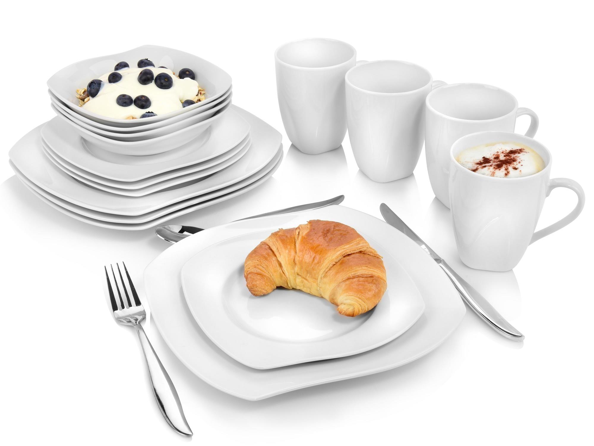 SÄNGER Kombiservice Avalon, (16 tlg., Avalon aus Porzellan 16 teilig) weiß Geschirr-Sets Geschirr, Tischaccessoires Haushaltswaren