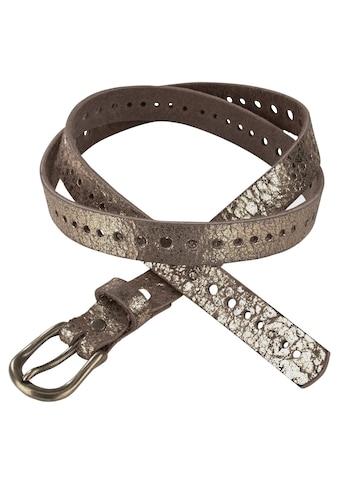 J.Jayz Ledergürtel, Glänzende Oberfläche, metallischer Vintage-Look, mit... kaufen