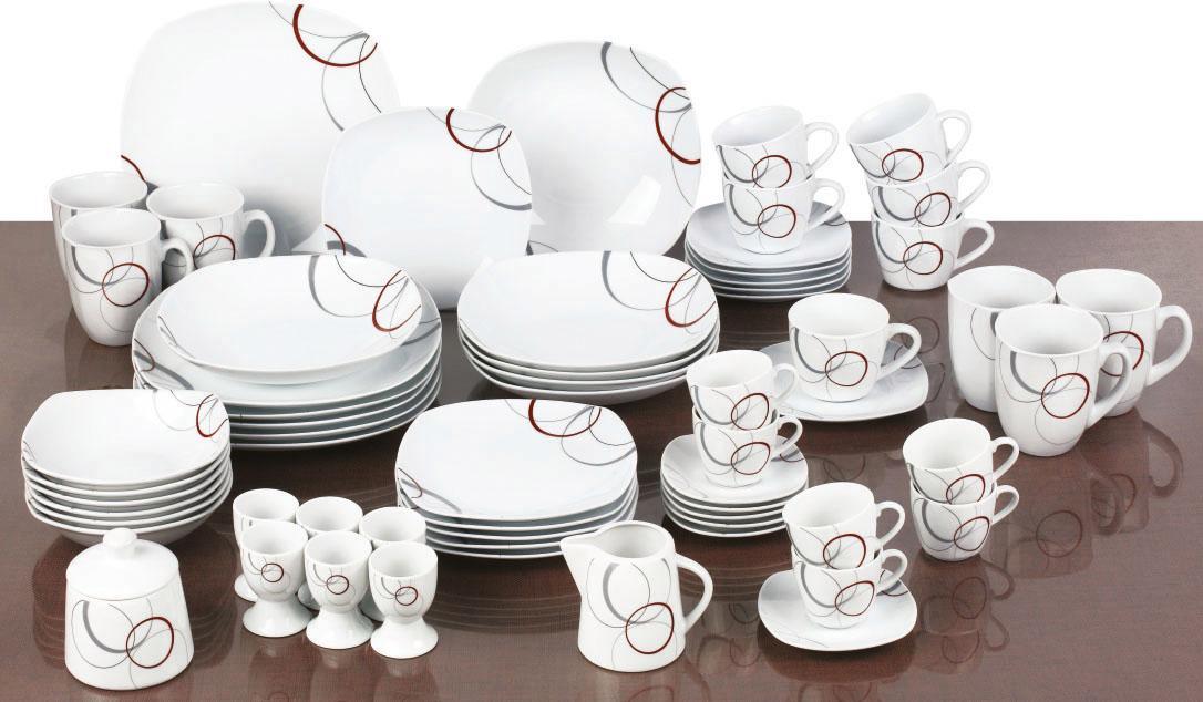 van Well Kombiservice Palazzo, (Set, 62 tlg.), Spülmaschinengeeignet weiß Geschirr-Sets Geschirr, Porzellan Tischaccessoires Haushaltswaren