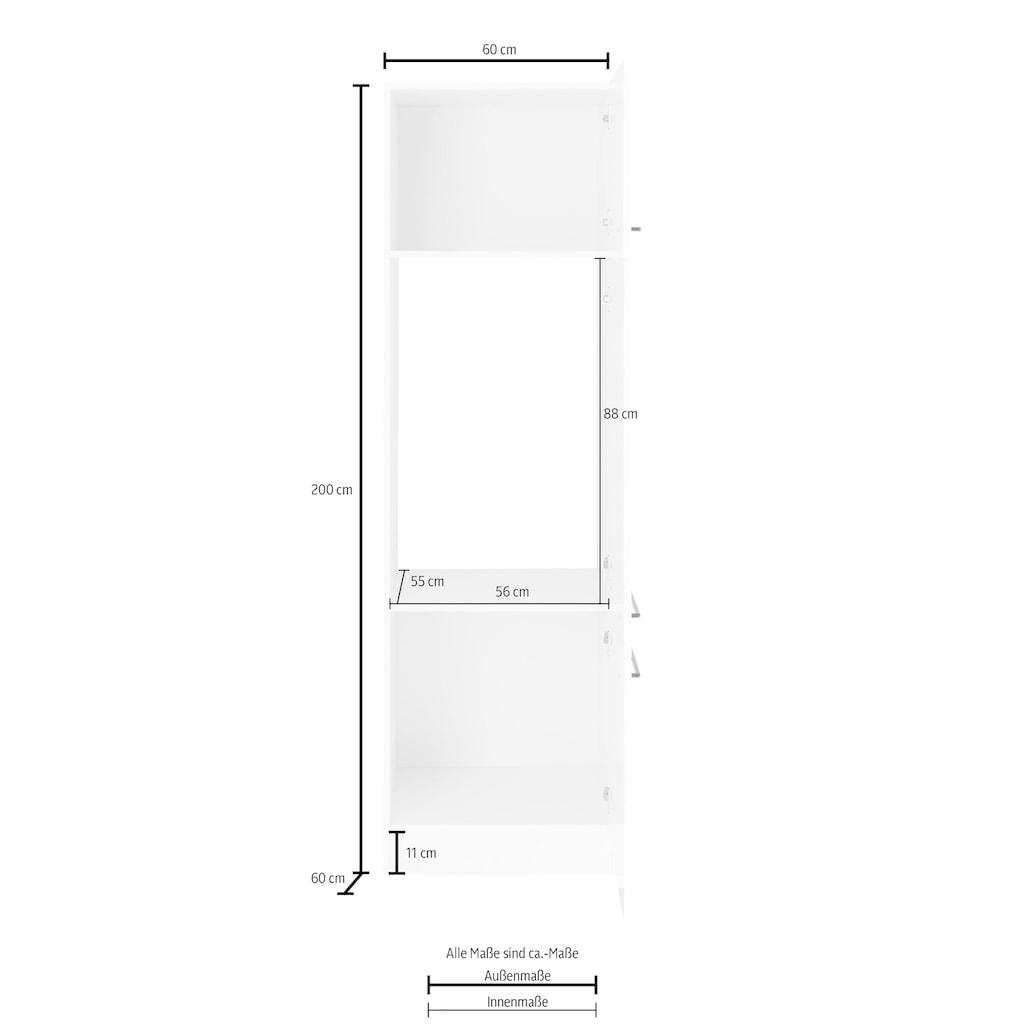 HELD MÖBEL Kühlumbauschrank »Tulsa«, 60 cm breit, 200 cm hoch, 3 Türen, schwarzer Metallgriff, hochwertige MDF Front, geeignet für Einbaukühlschränke mit 88 cm Nischenmaß