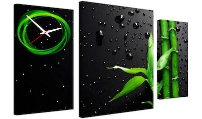 Conni Oberkircher´s Bild »Black & Green Nature«, Bambus, (Set), mit dekorativer Uhr kaufen