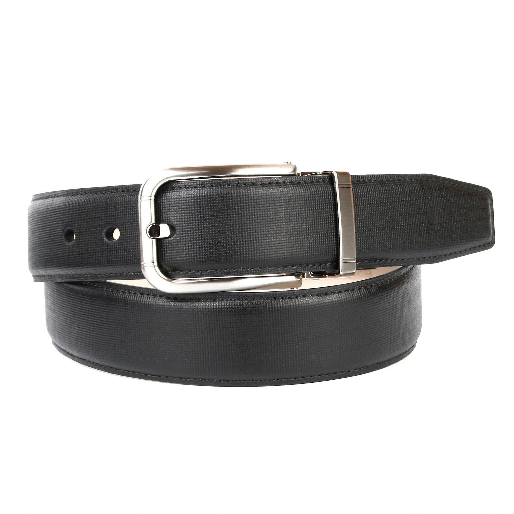Anthoni Crown Ledergürtel, mit hochwertiger silberfarbener Schließe schwarz Damen Ledergürtel Gürtel Accessoires