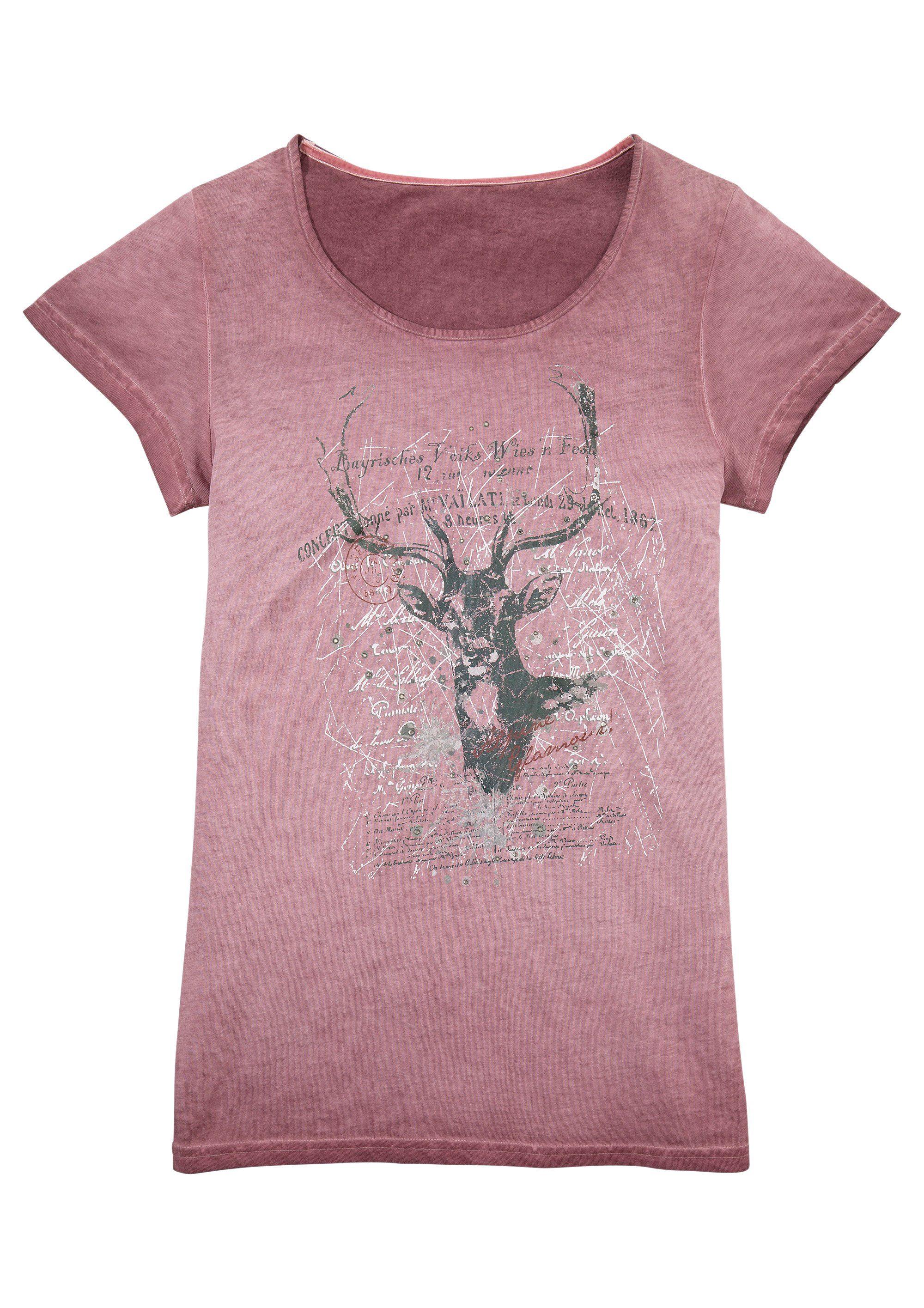 Marjo Trachtenshirt Damen mit Glitzersteinchen Damenmode/Bekleidung/Trachtenmode/Trachtenshirts