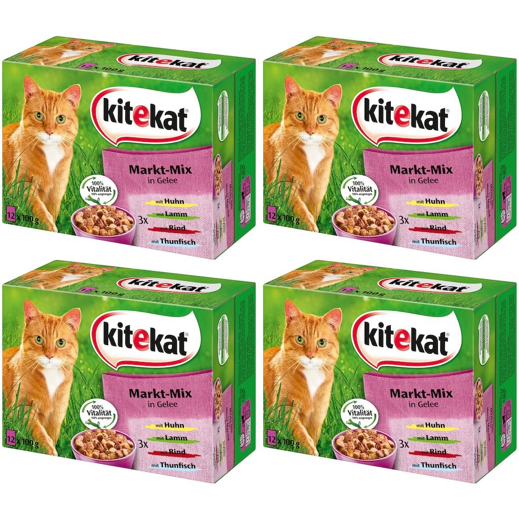 Kitekat Set: Katzennassfutter »Markt-Mix in Gelee«, 4 Pakete mit je 12 Beuteln á 100 g