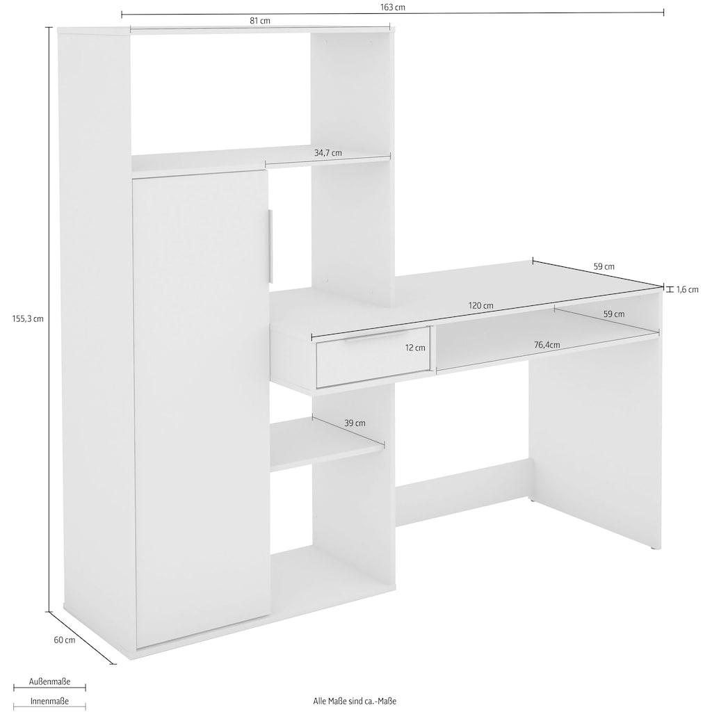 Homexperts Schreibtisch »Robin«, mit sehr viel Stauraum auf kleiner Fläche