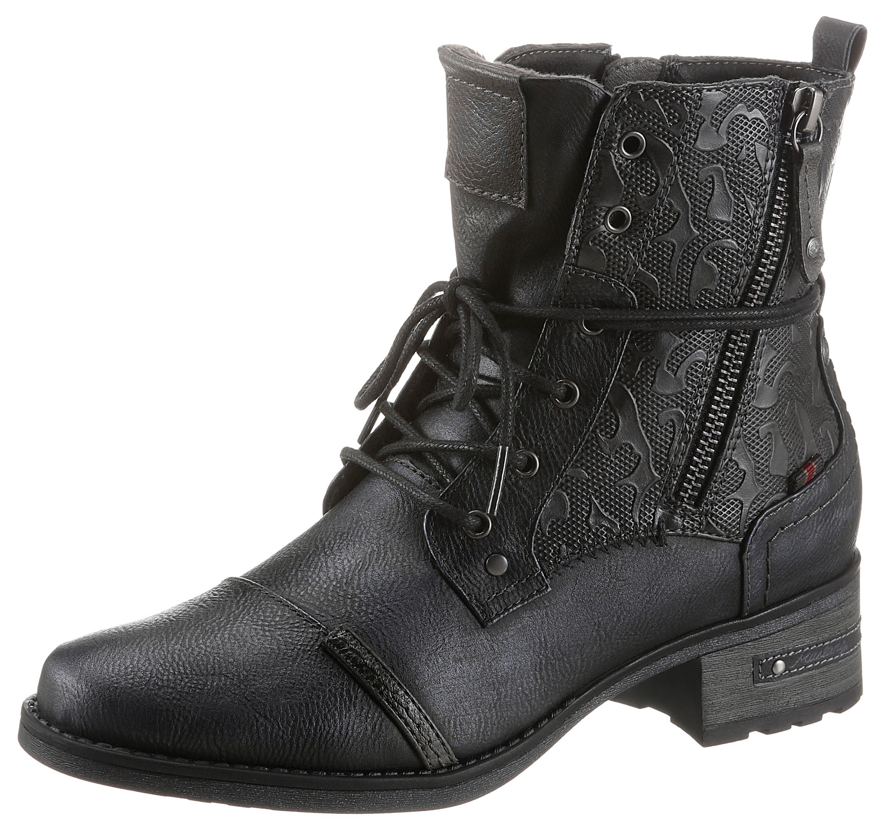 mustang shoes -  Schnürstiefelette, mit schaftumspielender Schnürung
