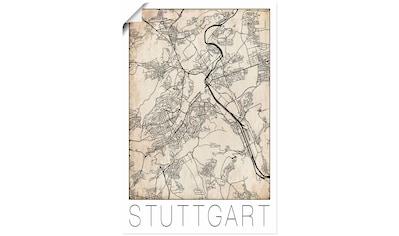 Artland Wandbild »Retro Karte Stuttgart Deutschland Grunge« kaufen