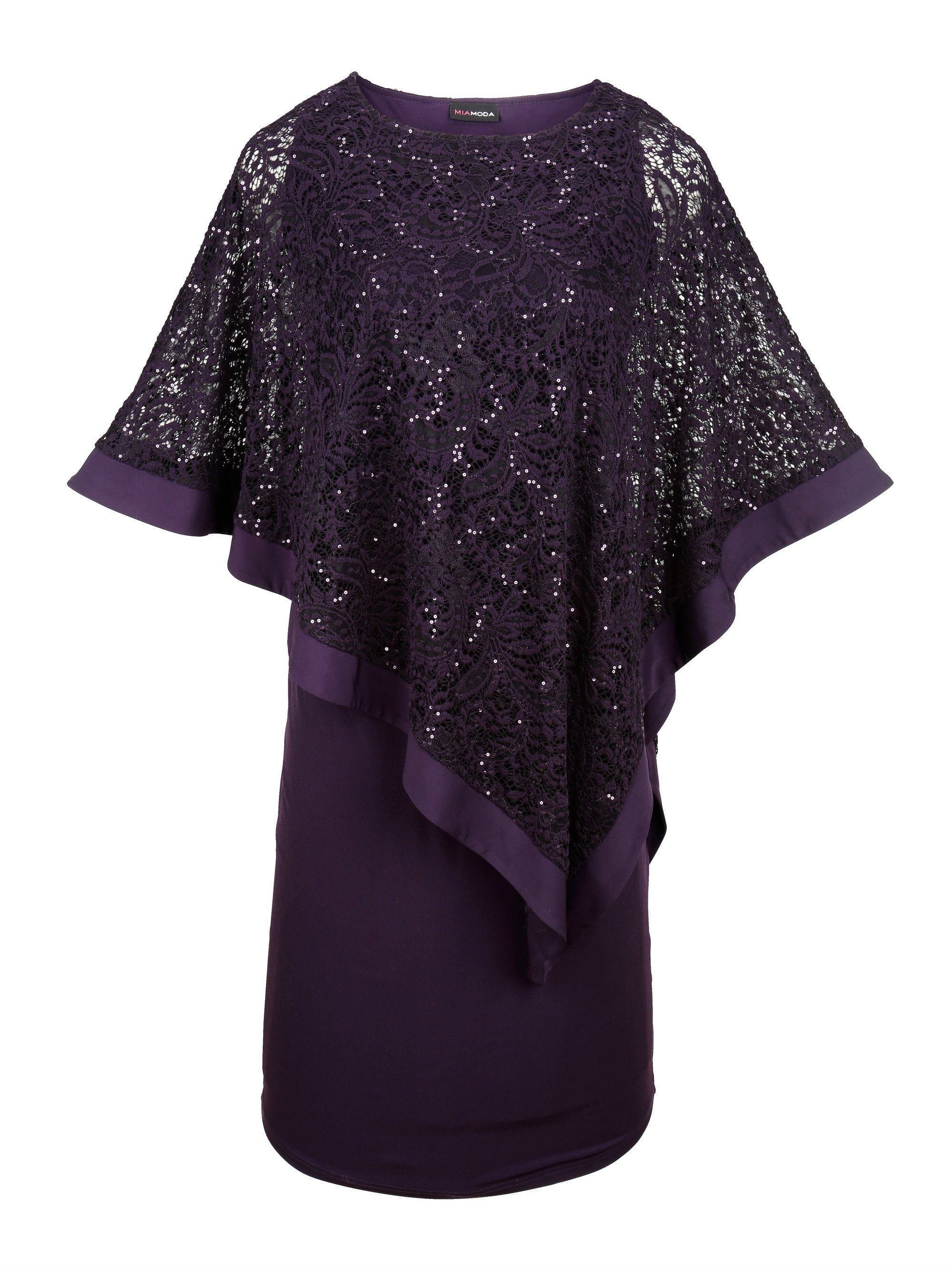 MIAMODA Kleid mit Spitze und Pailletten