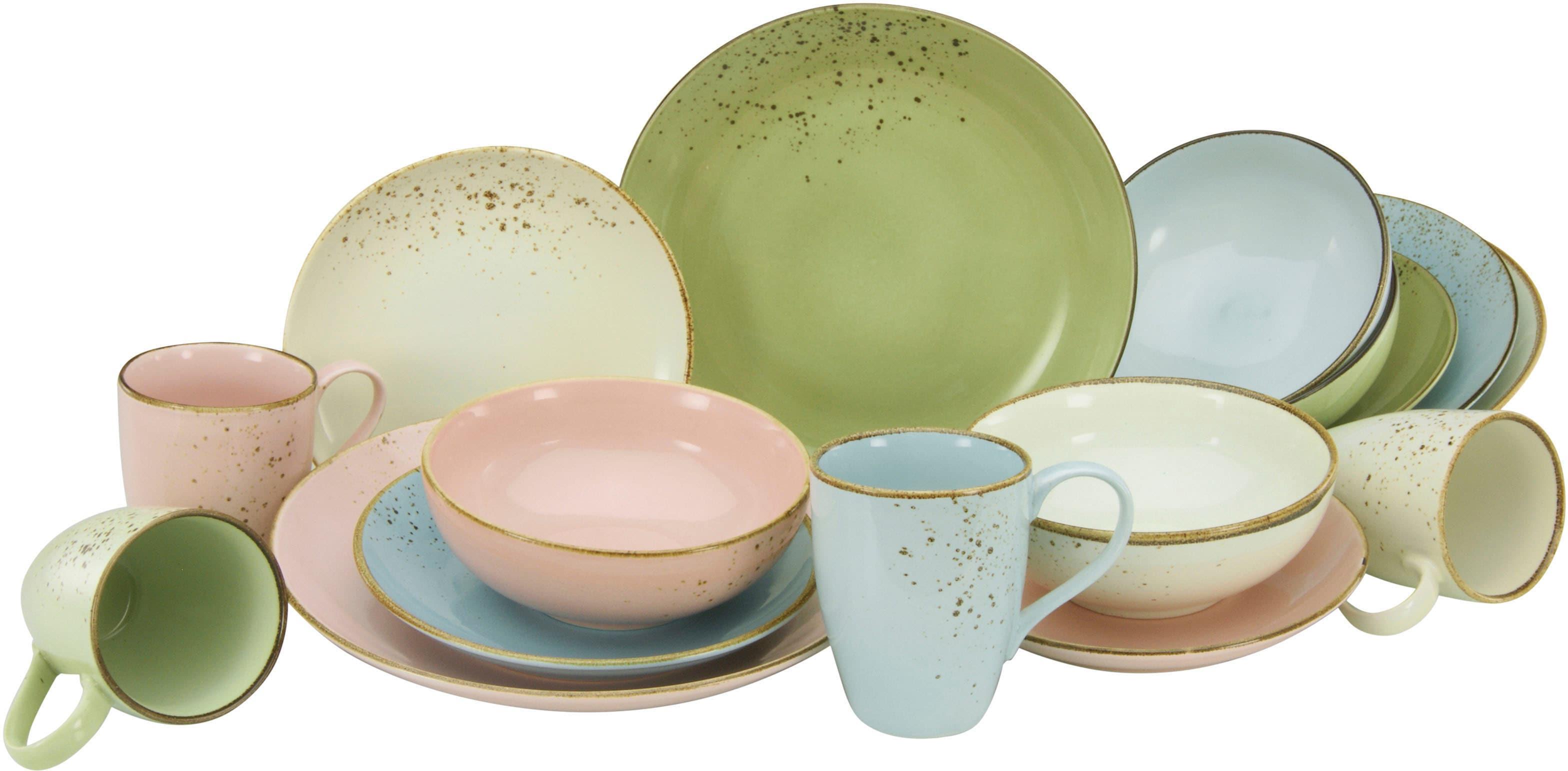 CreaTable Kombiservice NATURE COLLECTION Pastell, (Set, 16 tlg.), Pastelltöne bunt Geschirr-Sets Geschirr, Porzellan Tischaccessoires Haushaltswaren