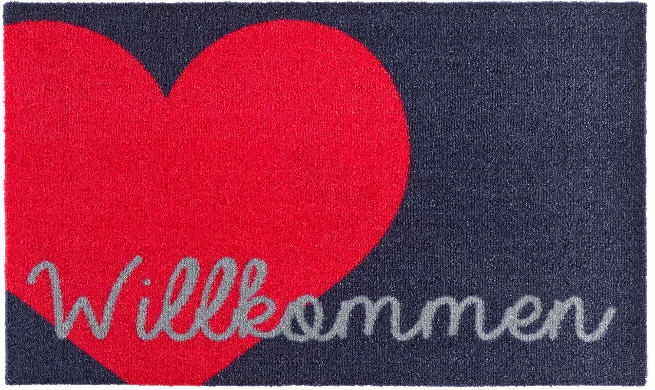Fußmatte Willkommen Herz Zala Living rechteckig Höhe 7 mm