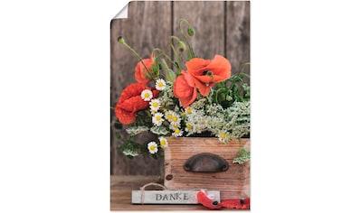 Artland Wandbild »Mohnblüten Typografie Danke«, Blumen, (1 St.), in vielen Größen & Produktarten - Alubild / Outdoorbild für den Außenbereich, Leinwandbild, Poster, Wandaufkleber / Wandtattoo auch für Badezimmer geeignet kaufen