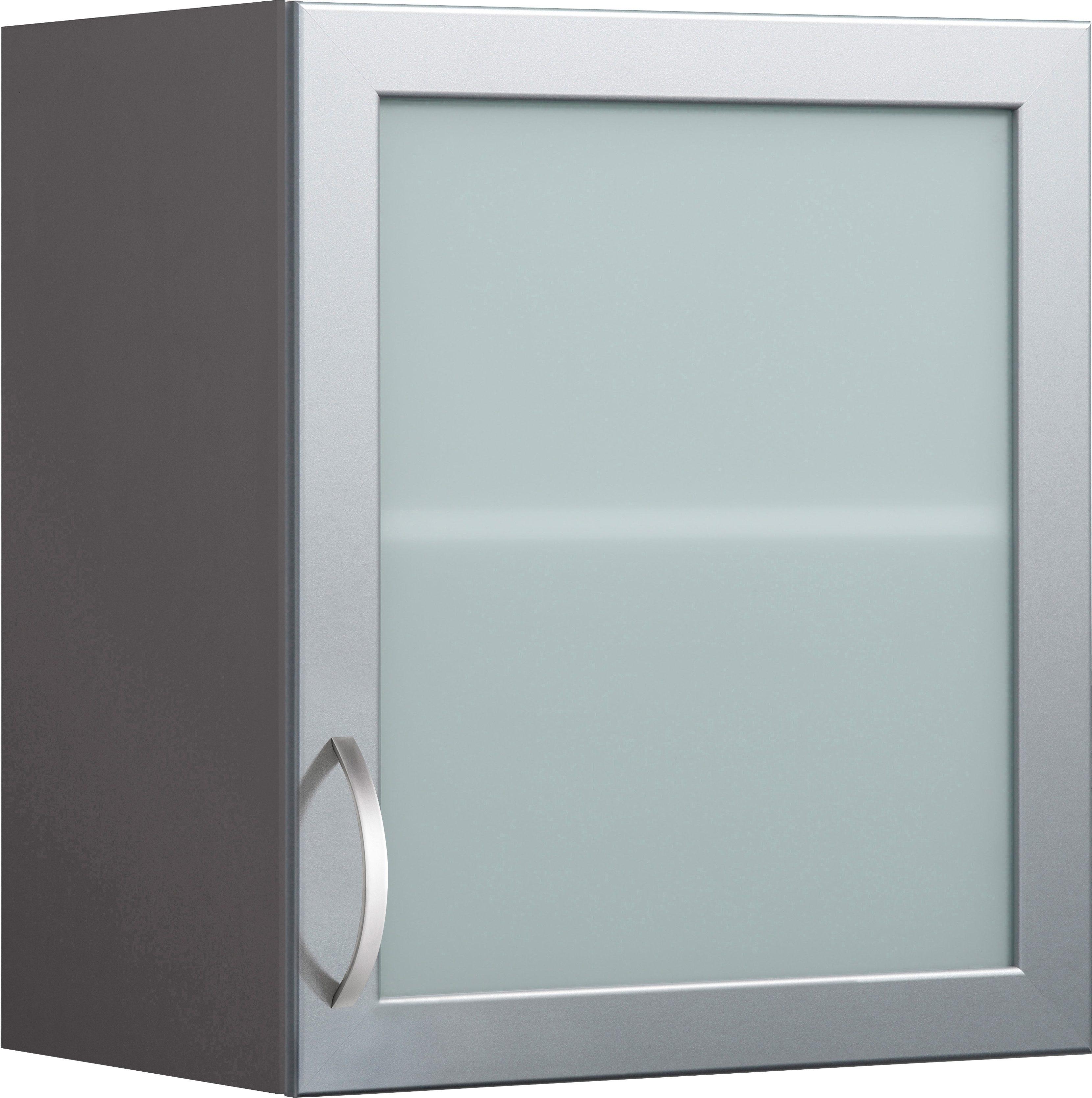 Glashänger mit Rahmentür Flexi Breite 50 cm | Wohnzimmer > Schränke > Hängeschränke | Grau