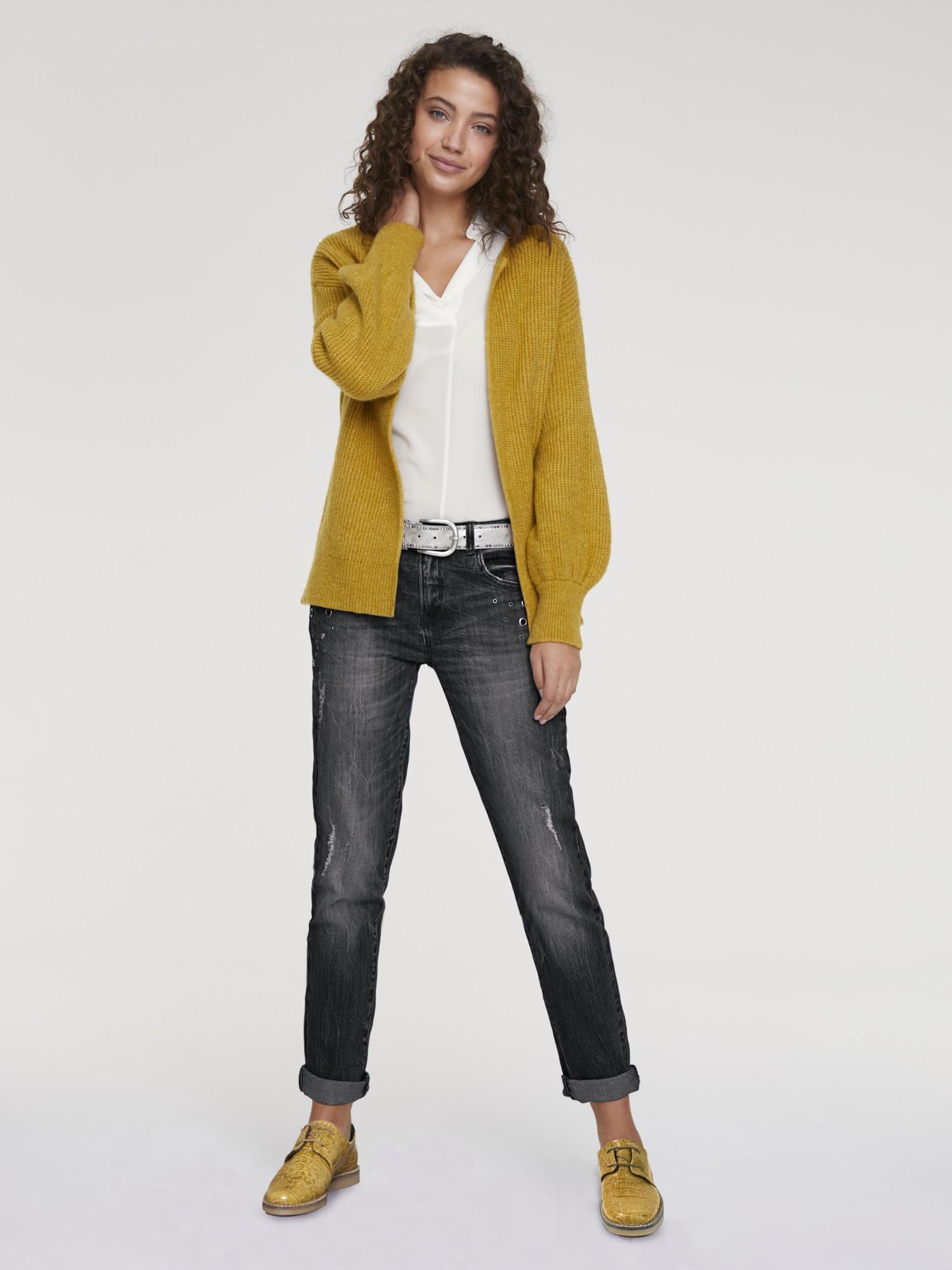 heine CASUAL Boyfriend-Jeans im Used-Look | Bekleidung > Jeans > Boyfriend-Jeans | Schwarz | Baumwolle - Elasthan | Heine Casual