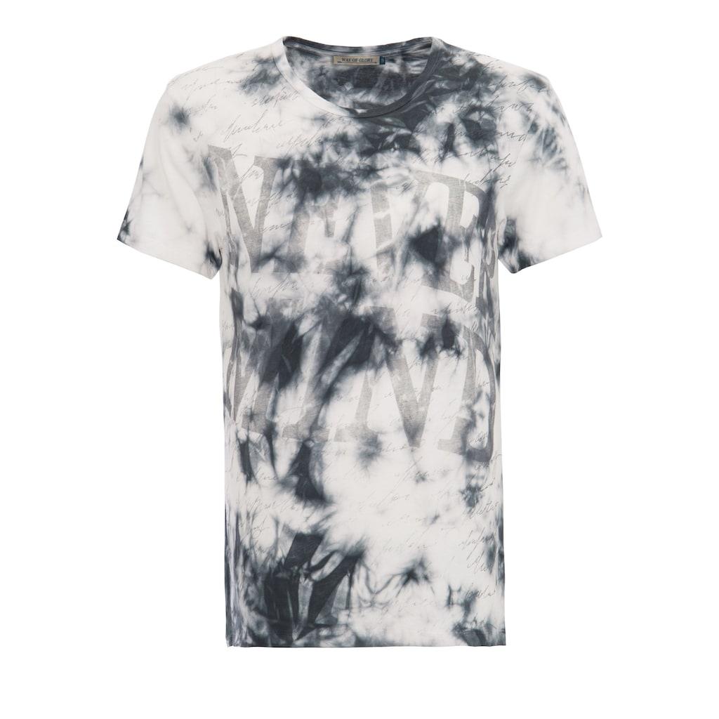 Way of Glory T-Shirt, mit Slogan Druck und Batik Waschung