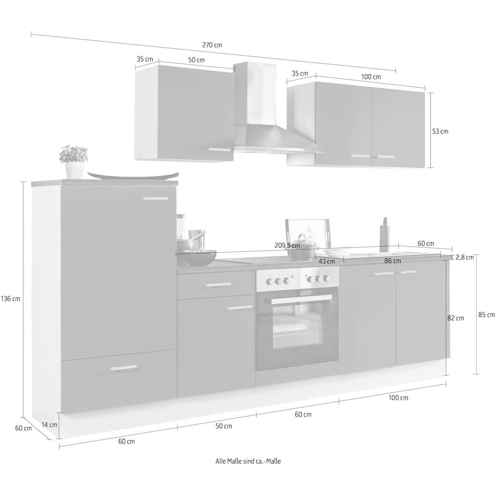 Menke Küchen Küchenzeile »White Classic«, Küchenzeile mit E-Geräten, Breite 270 cm