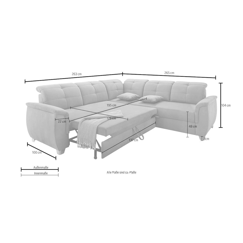 Jockenhöfer Gruppe Ecksofa, mit 6 individuell, verstellbaren Kopfteilen, Gästebett- und Relaxfunktion, Nosagfederung