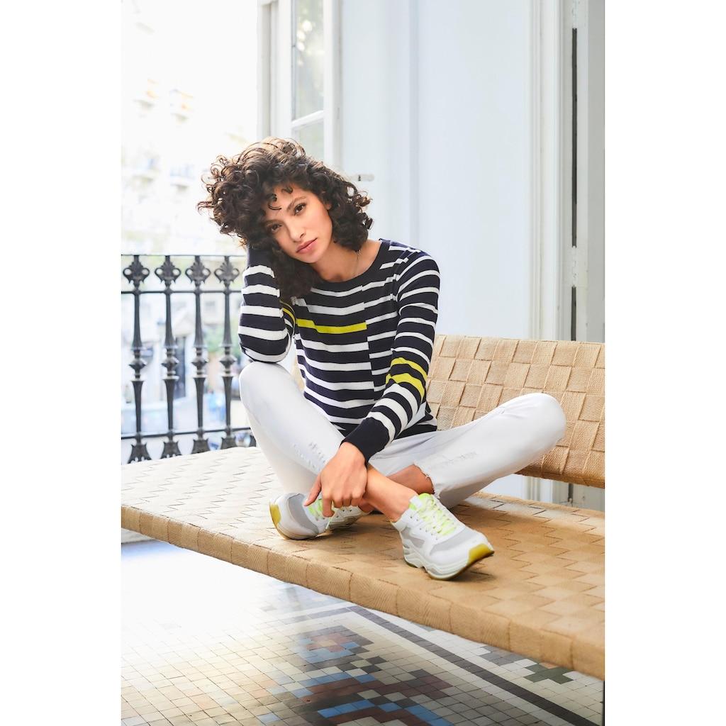 Aniston SELECTED Streifenpullover, im Colorblocking-Dessin