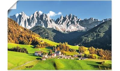 Artland Wandbild »Alpen Berge Santa Maddalena«, Berge & Alpenbilder, (1 St.), in... kaufen