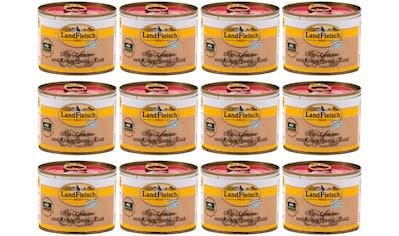 LANDFLEISCH Nassfutter »Wolf Barf Pesto Gold«, (12), 12 Dosen á 200 g kaufen