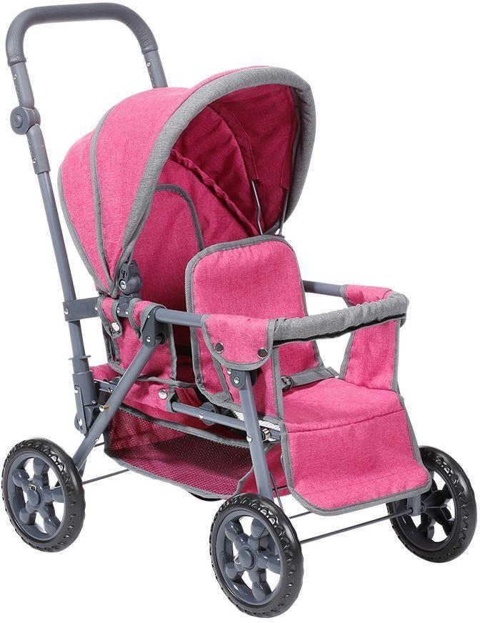 Knorrtoys Puppen-Zwillingsbuggy Big Twin - berry rosa Kinder Puppenzubehör Puppen Puppenwagen