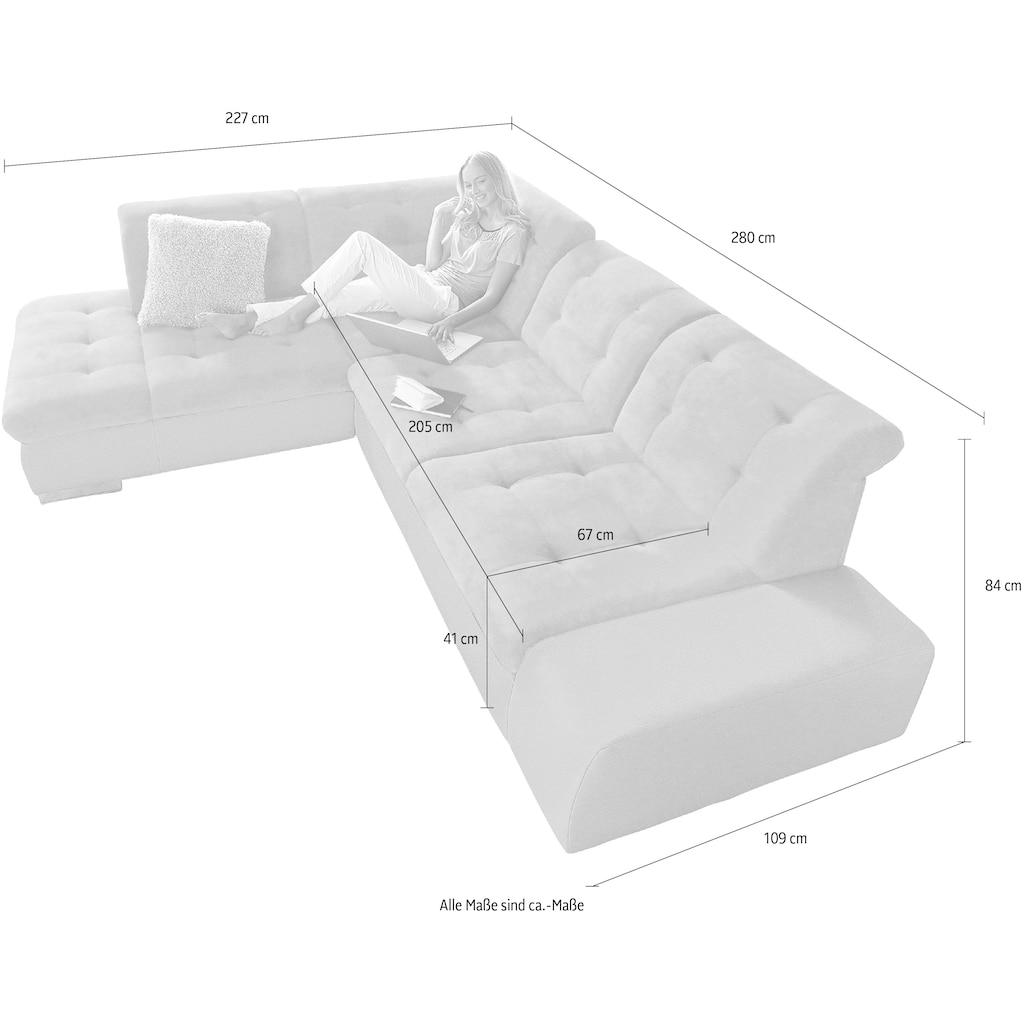 sit&more Ecksofa »Pale«, inklusive Kopfteilverstellung, wahlweise mit Bettfunktion