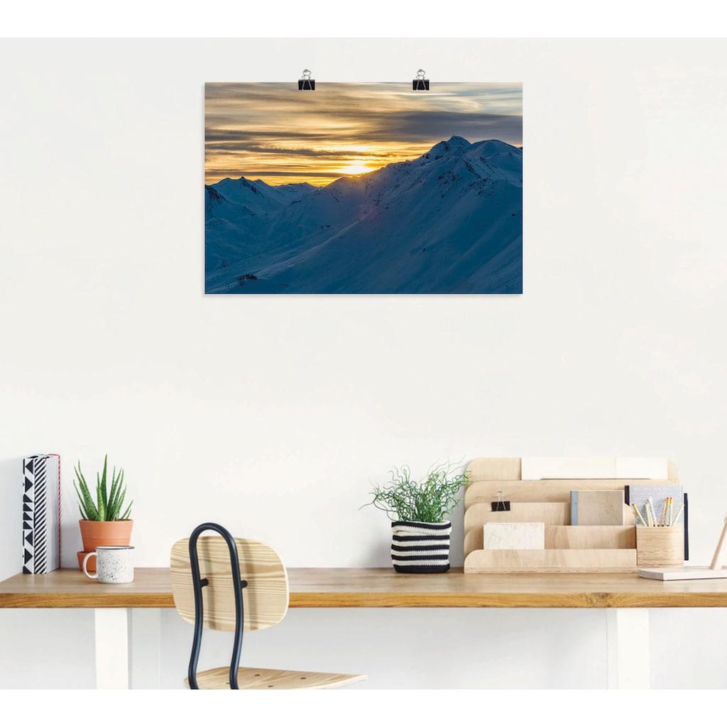 Artland Wandbild »Sonnenuntergang über Bergen«, Berge, (1 St.), in vielen Größen & Produktarten - Alubild / Outdoorbild für den Außenbereich, Leinwandbild, Poster, Wandaufkleber / Wandtattoo auch für Badezimmer geeignet