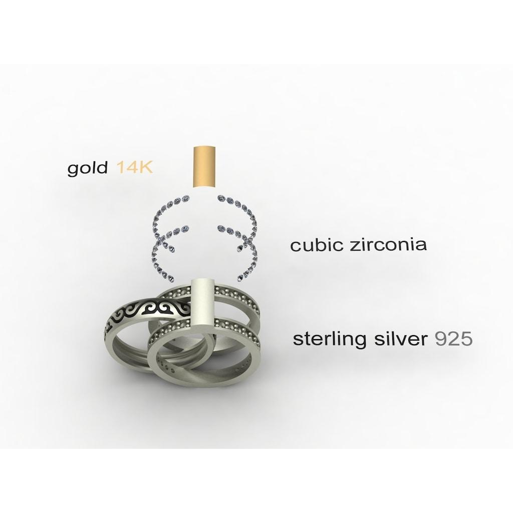 OSTSEE-SCHMUCK Fingerring »- Sunny Exklusiv - Silber 925/000 & Gold 585/000 - Zirkonia«, (1 tlg.)