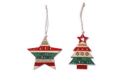 CHRISTMAS GOODS by Inge Dekohänger »MERRRY CHRISTMAS«, in Stern- und Baumform, 2-fach... kaufen