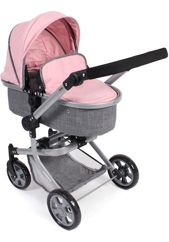 CHIC2000 Kombi-Puppenwagen »Mika, grau-rosa«, mit schwenkbaren Vorderrädern kaufen