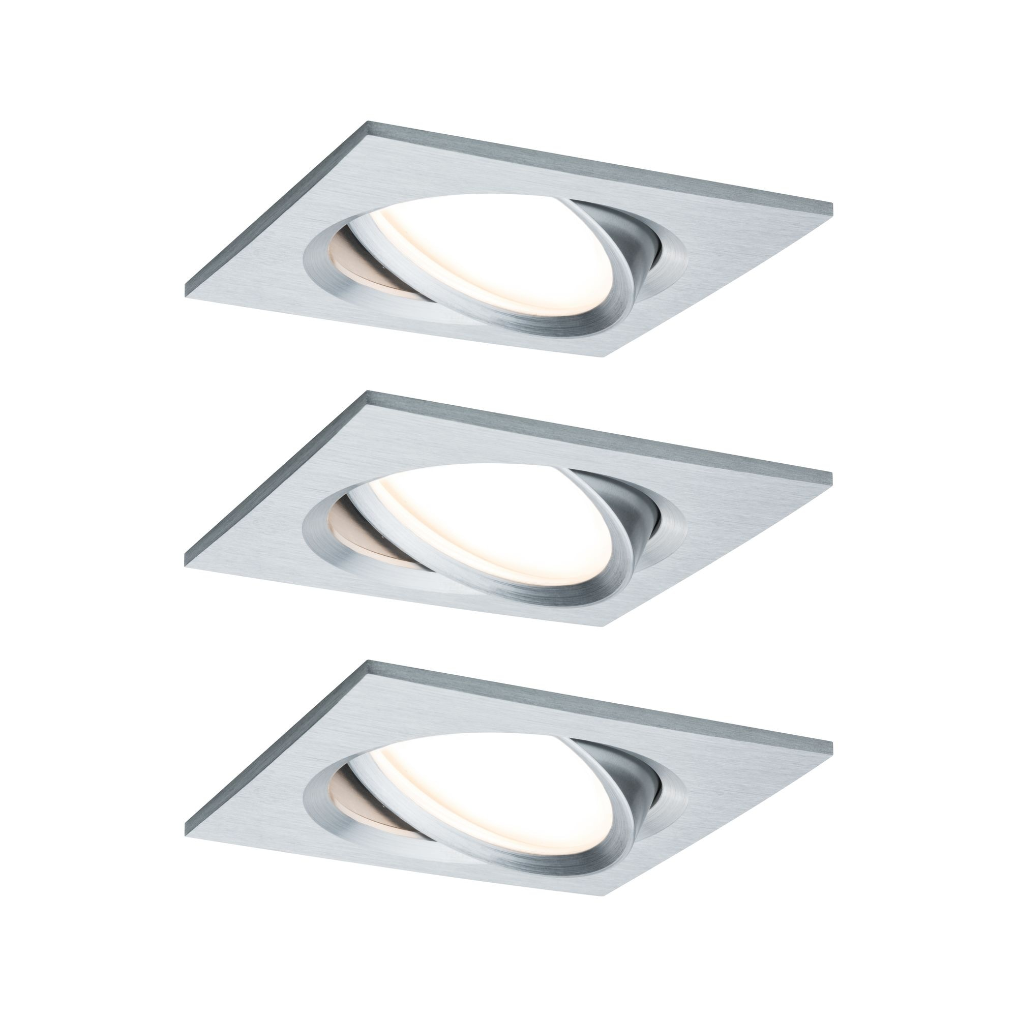 Paulmann LED Einbaustrahler Nova Plus eckig 3x6,8W Alu schwenkbar dimmbar, 3 St., Warmweiß