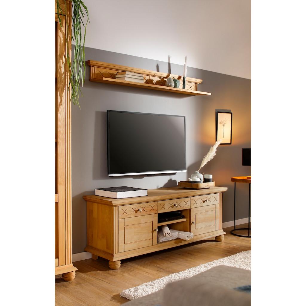 Home affaire Lowboard »Benevento«, aus Kiefer massiv, mit Metallgriffe, Breite 133,5 cm